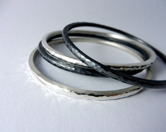 Blackened 925 / - sterling silver bracelet