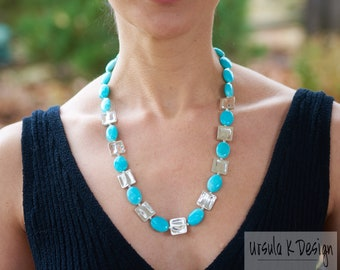 Blue Amazonite Necklace with Hill Tribe Silver, Hill Tribe Hammered Silver Necklace, Blue Gemstone Necklace with Silver, April Birthstone