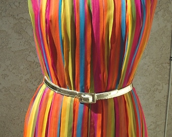 Reduced Pleated Multi- Striped Chiffon Party Dress/Gown Designer Couture Sample Size 8  Item # 716 Dresses/Gownsl