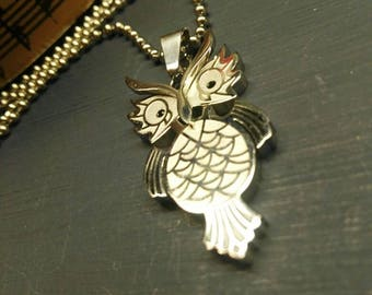 Owl 3D Pendant +Chain, Choker/Necklace, Stainless Steel.