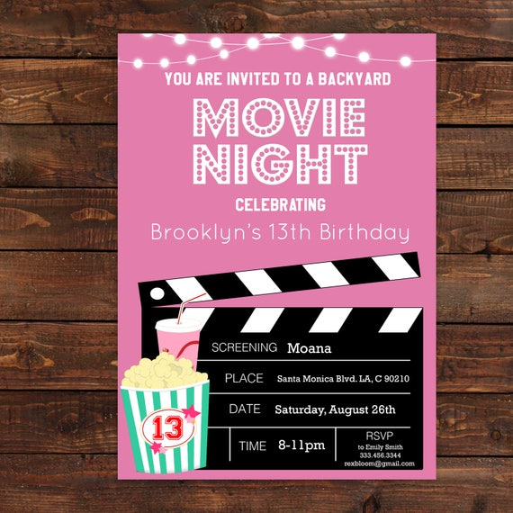 Pink Girls Movie Night Party Invitation Pink Movie