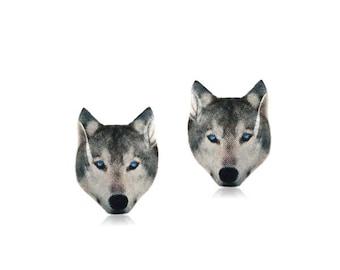 Wolf Stud Earrings - Wolf Earrings - Animal Jewelry - Wolf Post Earrings - Hypoallergenic Surgical Steel Stud Earrings - Cute Wolf Studs