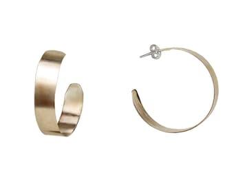 Sterling silver large hoops, big creole hoops, rustic jewelry, plain wide hoop, stud earrings, matte jewelry, custom hoop, wide minimal hoop