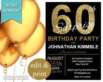 60th Surprise Birthday Invitation, 60th Birthday Invite, Surprise 60th, 60th Birthday for men, Printable Invitation, 60th Birthday Invite
