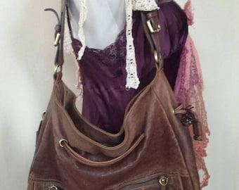 Large Vintage Brown Leather Shoulder Bag Purse