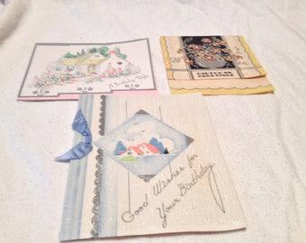 3 Vintage 1934-37 Used Bithday CardsHouses Flowers USA