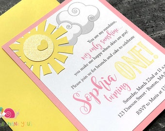 You Are My Sunshine Invitations · A2 LAYERED · Blossom Pink and Yellow · Handmade Party Invites | Sunshine Baby Shower | First Birthday