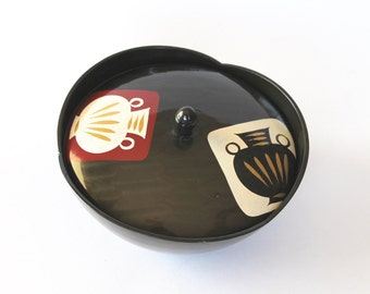 Vintage 1960's Mid Century Japanese/Asian Black Plastic Lacquer Style Box with Pot/Vase Motif