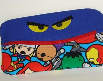 SMILING SCARY EYES Pencil Case with hero figures 100% cotton fabric nylon zipper closure
