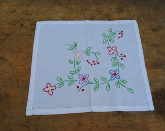 Vintage handmade embroider lace, flowers, home decor,