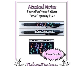 Bead Pattern Peyote(Pen Wrap/Cover)-Musical Notes