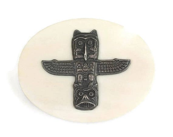 Totem Pole Faux Scrimshaw Pin Northwest Pacific Coast Native American Alaska Theme