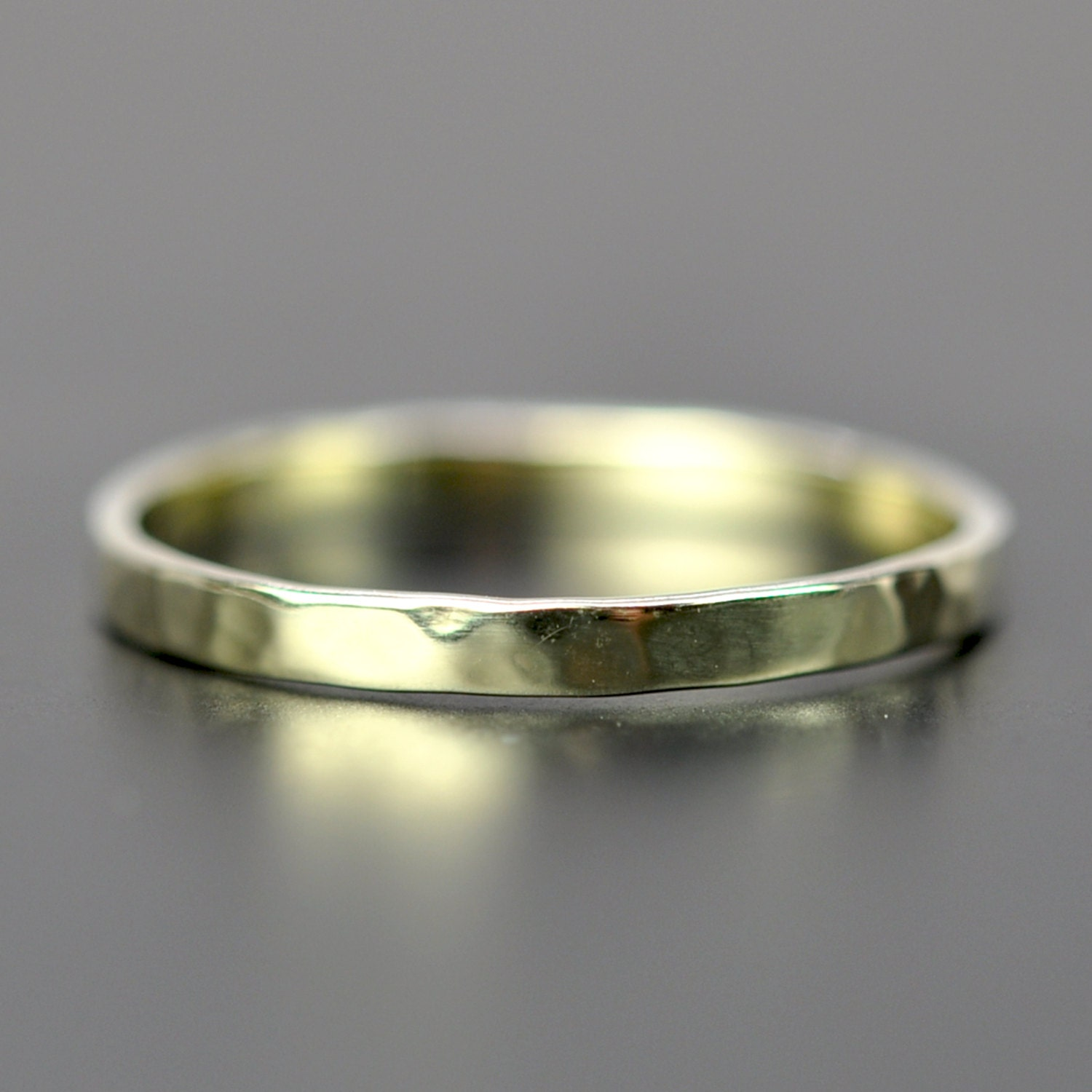 14K Green Gold 2mm Ring Hammered Stacking Band Unique