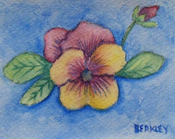 Pansy Card Watercolor Pansies Greeting Card Blank Card Hand Painted Card Watercolor Flowers Watercolor Pansy Card