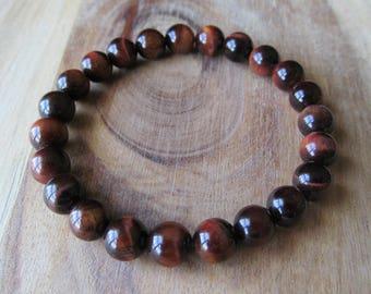 8mm Red Tiger Eye Bracelet, Gemstone Bracelet, Natural Stone Bracelet, Gift for Her,  Gift for Him, Mens Bracelet, Yoga Jewelry