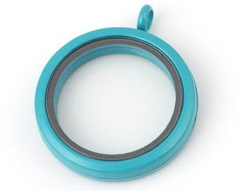 30mm Sky Blue Living floating locket, Sky Blue Floating Lockets, Living Memory Locket, Living Sky Blue Lockets