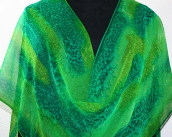 Green, Emerald, Lime Silk Scarf Handpainted. GREEN PLANET Chiffon Silk Scarf, Large 14x72 Bridesmaid gIFT, Mother Gift. Gift-Wrapped