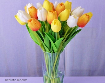 Tulip/tulips, silk floral arrangement, faux water, acrylic, illusion, glass vase, Real Touch flowers, yellow, orange, pink, white, red
