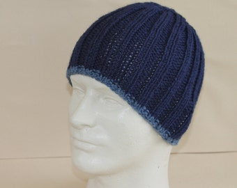Men's Beanie Navy Blue Cadet Blue Ribbed Knit Hat Toque Warm Winter Merino Wool