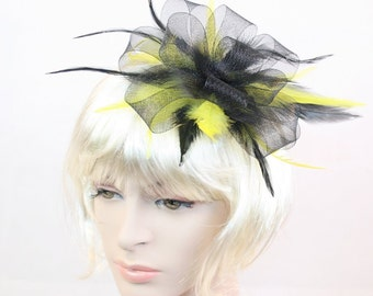 Black Fascinator Yellow Fascinator Black & Yellow Fascinator Black Feather fascinator Weddings Evening wear Races Hair Accessory Hand made