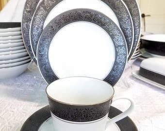 Vintage Noritake Embossed Black Mirano 6878 Wedding Gift Complete China Set Service for 12 serving 115 Piece Elegant Black White China Set