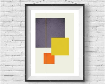 Block Life, Designer Series, Mid Century Geometric Poster, Geometric Squares, Halftone Geometric Poster