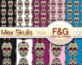 MEX SKULLS - n.2 - Digital Paper, Craft, Scrapbook Papers, Scrapbooking, Cartonnage, Sugar Skull, Mexico, Skull Art, Day of the Dead