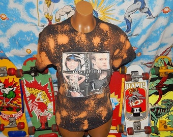 BLEACHED OUT Justin Timberlake Christina Aguilera Tour Shirt - one of a kind - vintage distressed tee