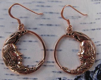Solid Copper Earrings CER1272 - 1 1/4 inches long.