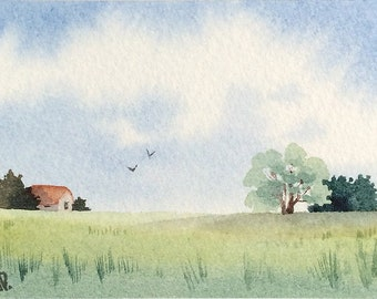 Original watercolor ACEO painting - Silent neighbor