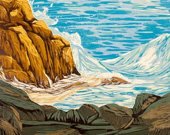 block print - Private Wave - jigsaw reduction woodcut