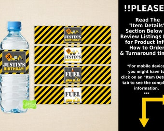 Construction Water Bottle Labels -  Construction Bottle Wraps - Truck Bottle Labels- Construction Party Decor - Emailed & Shipped