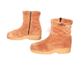 size 9.5 PLATFORM tan leather 70s FLEECE lined zip up ankle boots