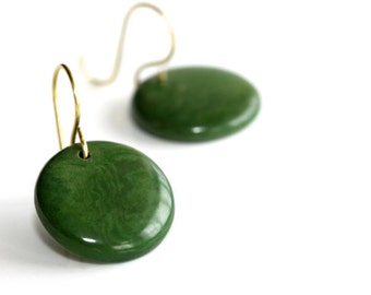 Dark Green Earrings - 'Unfiltered Thoughts'