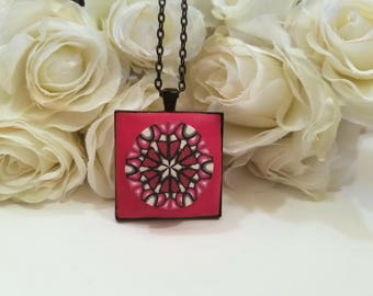 Geometric Design, Red Jewelry, Artisan Necklace, Mothers Day Gift, Wearable Art, Handmade Polymer Clay