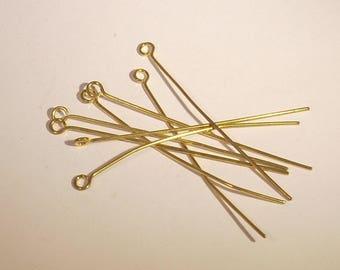Nail head 50mmx10 gold metal eye pin