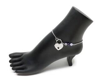 BDSM Locking Anklet, Purple Locking Slave anklet, Purple Slave Anklet, BDSM Anklet Heart Lock, BDSM Jewelry, Purple Agate Delicate Anklet