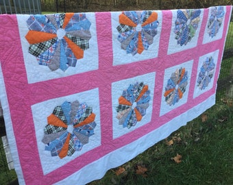 Vintage Pink Multicolored Dresden Plate Quilt 74x84
