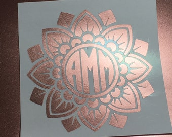 Beautiful Rose Gold Metallic Mandala Monogram Vinyl  Decal I Yeti Decal I Ipad Decal  I Window Decal I Vinyl Sticker I Cute   Preppy Shiny