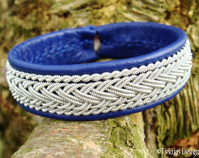 Sami Viking Bracelet for Guys and Girls HEIDRUN Blue Reindeer Leather Bangle Cuff decorated with Braided Pewter and Custom Handmade to You