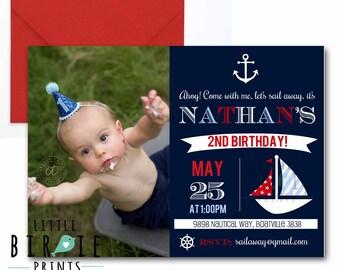 Nautical Birthday INVITATION - Boat first birthday Invitation - Nautical First birthday invitation - Preppy Anchor Invitation - Boat Party