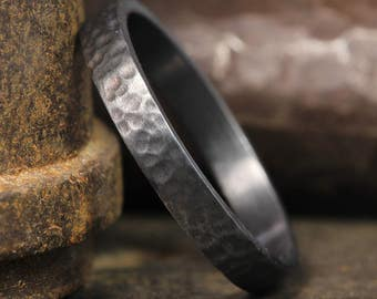 3mm Oxidized, Blackened over 925 Sterling Silver Hand Forged, Hammered Handcrafted Flat Pipe Cut Wedding Band Ring, FREE Sizing & Engraving