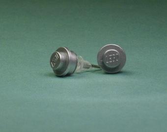 Silver Mini Brick/Plate/Disc Stud Earrings