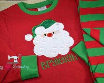 Christmas pajamas santa boy girl kid child baby toddler infant embroidery applique custom monogram name personalized santa train