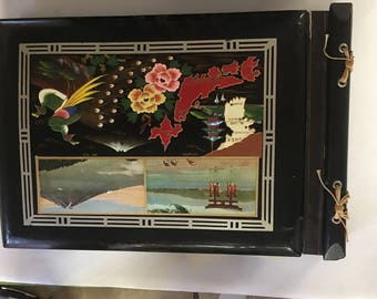 Photo Album Scrapbook Vintage Photo Album Hand Painted Wood Cover 1940 Japan Cover Antique Photo Album Picture Book Retro Memory Book Asian