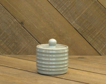 Carved Jar - Sugar Jar - Ceramic Jar - Striped Jar - Celadon Glaze - Wheel Thrown - Reduction - Go Play Clay - Guiliotis - Made to Order