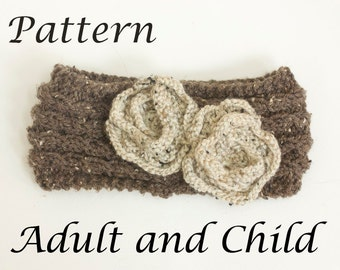 Flower Headband Knitting Pattern, Instant Download, Flower Ear Warmer Pattern, Adult, Child Knit Warmer