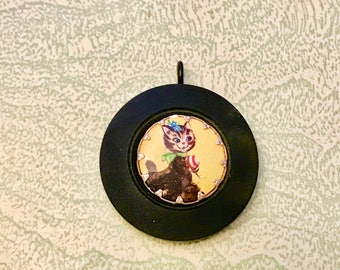 Large black coat button retro cat Hong Kong charm pendant necklace repurposed up cycled jewelry