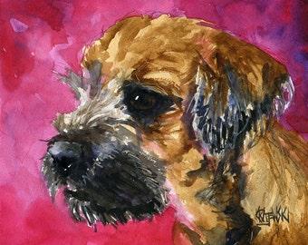 Border Terrier Art Print of Original Watercolor Painting 11x14