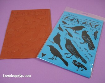 Blackbirds / Invoke Arts Collage Rubber Stamps / Unmounted Rubber Stamp